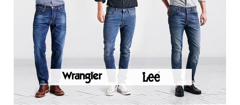Spodnie męskie Wrangler i Lee