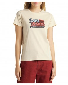 T-shirt Lee CREW NECK TEE L41L Bleached Sand