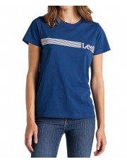 Lee STRIPE LOGO TEE L42M Oil Blue