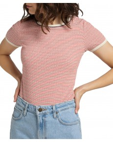 Lee STRIPED RIBBED TEE L44S Aurora Red