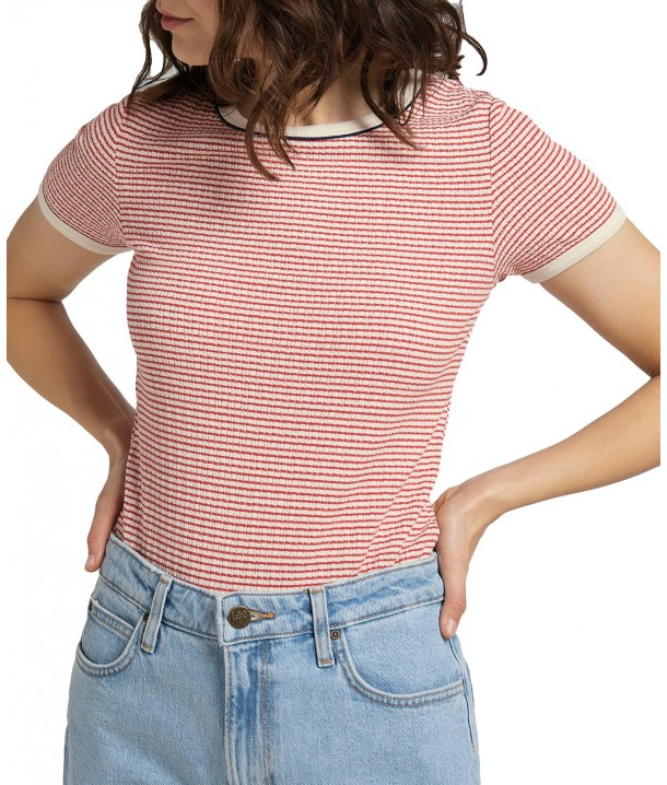 T-shirt Lee STRIPED RIBBED TEE L44S Aurora Red