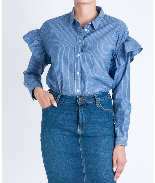 Lee RUFFLE SHIRT L48T Workwear Blue L48TXKKR
