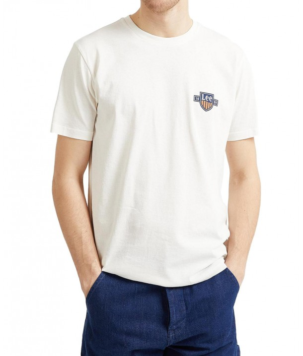 Lee CHEST LOGO TEE L61M White Canvas