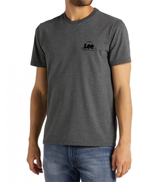 Lee SS TONAL FLOCK TEE L62S Dark Grey Mele