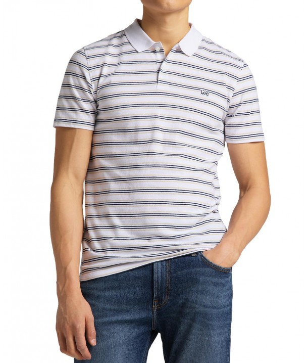 Koszulka Lee STRIPY POLO L63P White