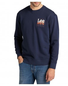 Lee SMALL LOGO CREW SWS L81W Navy