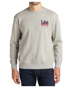 Lee SMALL LOGO CREW SWS L81W Grey Mele