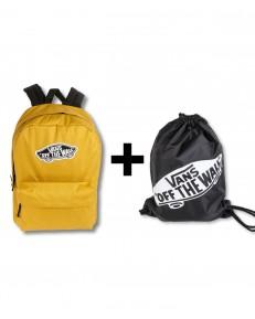 Zestaw Vans Plecak REALM Olive Oil + Worek BENCHED BAG Onyx