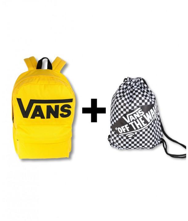 Zestaw Vans Plecak OLD SKOOL III Lemon Chrome + Worek BENCHED BAG Black/White Checkerboard