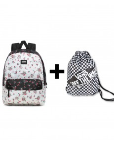 Zestaw Vans Plecak REALM CLASSIC Beauty Floral Patchwork + Worek BENCHED BAG Black/White Chckbrd