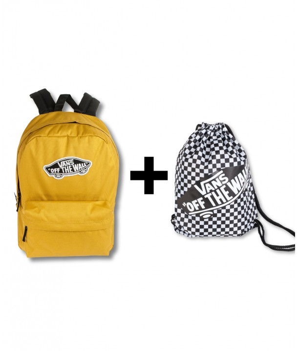 Zestaw Vans Plecak REALM Olive Oil + Worek Vans BENCHED BAG Black/White Chckbrd