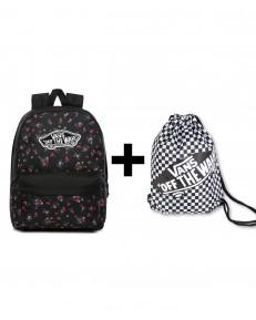 Zestaw Vans Plecak REALM Beauty Floral + Worek BENCHED BAG Black/White Chckbrd