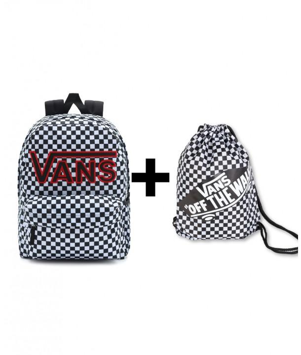 Zestaw Vans Plecak REALM FLYING Black/Checker + Worek BENCHED BAG Black/White Checkerboard