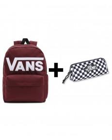 Zestaw Vans Plecak OLD SKOOL DROP Port Royale + Piórnik OTW PENCIL POUCH Black/White Checkboard