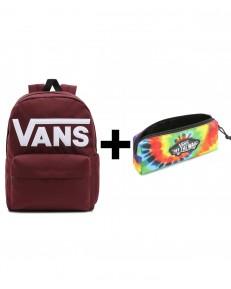 Zestaw Vans Plecak OLD SKOOL DROP Port Royale + Piórnik OTW PENCIL POUCH Spiral Tie Dye