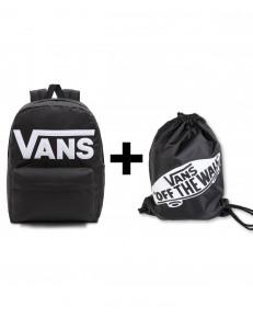 Zestaw Vans Plecak OLD SKOOL DROP Black/White + Worek Vans BENCHED BAG Onyx