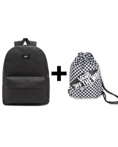 Zestaw Vans Plecak OLD SKOOL CHECK Black/Charcoal + Worek Vans BENCHED BAG Black/White Checkerboard
