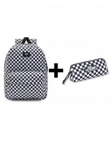 Zestaw Vans Plecak OLD SKOOL CHECK + Piórnik OTW PENCIL POUCH White/Black Checkerboard