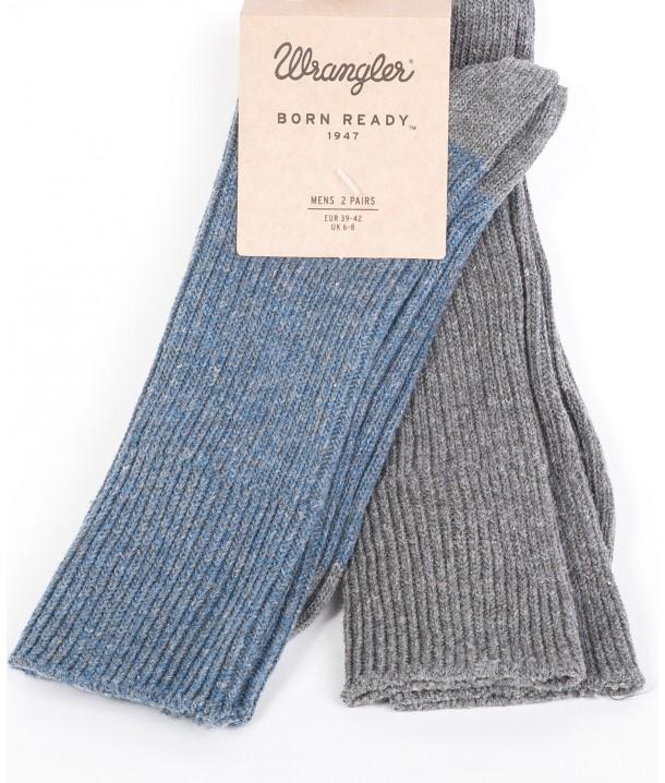 Wrangler Socks 2PACK Grey/Blue Grey Mel W0Z01UD2T