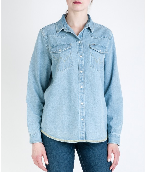 Wrangler BOYFRIEND DENIM SHIRT W500B Bleach W500BLW9E