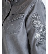 Wrangler L/S EAGLE DENIM SHIRT W5178 Grey Denim