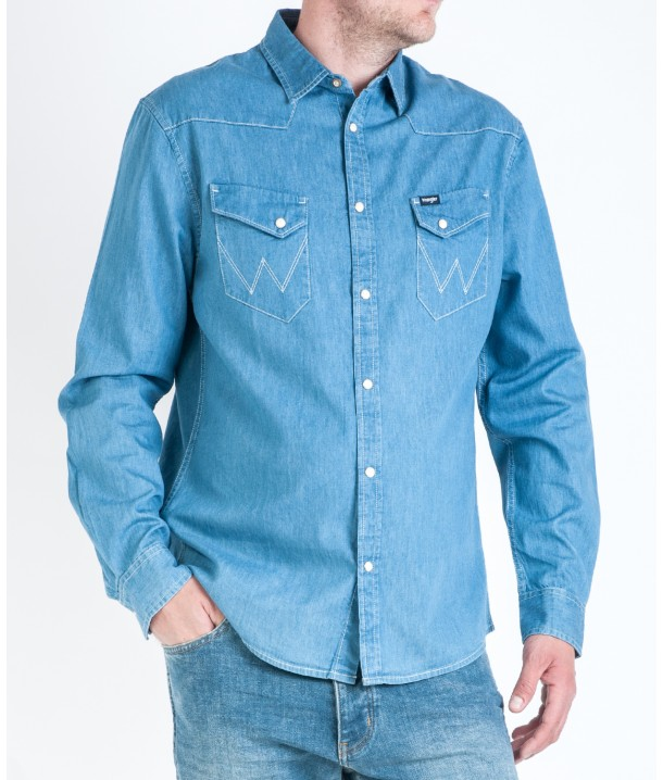 Wrangler WESTERN SHIRT W5870 Light Indigo W5870MM4E