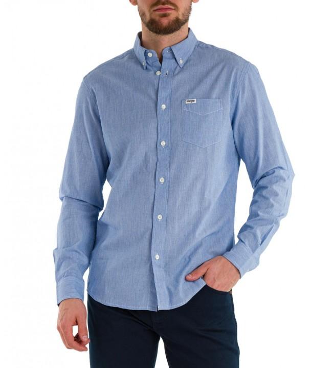 Koszula Wrangler LS 1PKT BUTTON DOWN SHIRT W5A34 Wrangler Blue