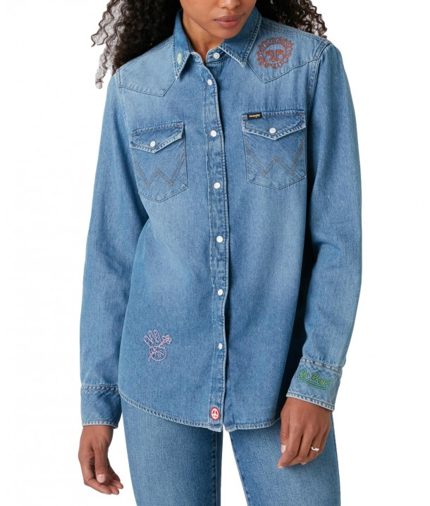 Koszula Wrangler BOYFRIEND WESTERN SHIRT W5Q1L Loud Craft