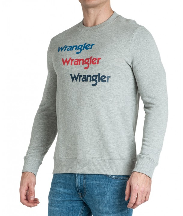 Wrangler SEASONAL LOGO SWEAT W6A5H Mid Grey Mel W6A5HAX37