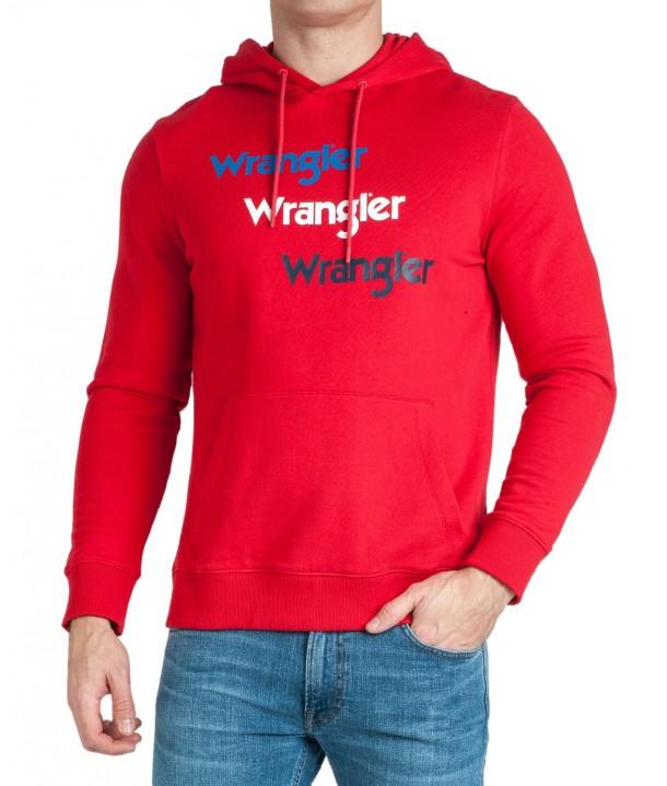 Wrangler REPEAT HOODIE W6A8H Formula Red W6A8HAXWO