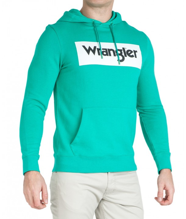 Wrangler LOGO HOODIE W6B9H Peacock Green W6B9HA082
