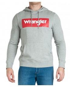 Wrangler LOGO HOODIE W6B9H Mid Grey Mel
