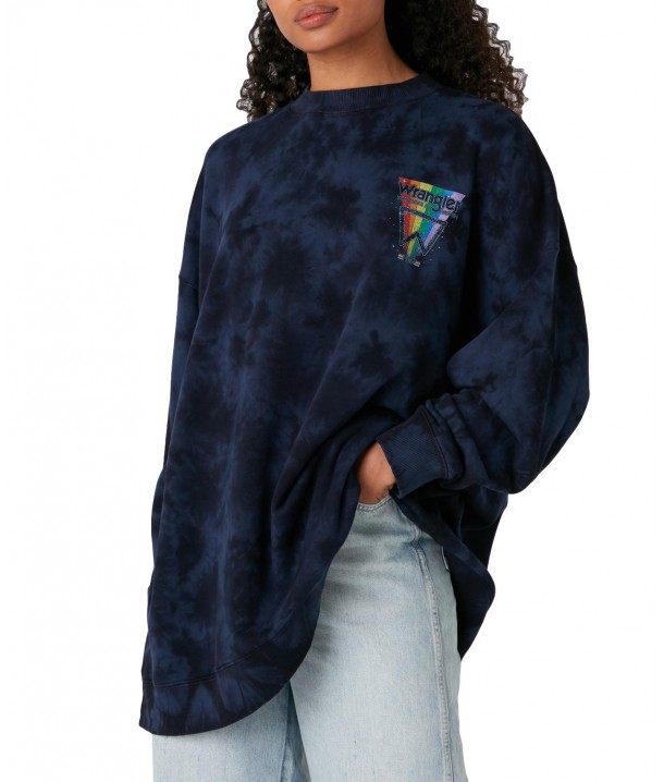 Wrangler OVERSIZE SWEAT W6Q4H Navy Irregular Dye