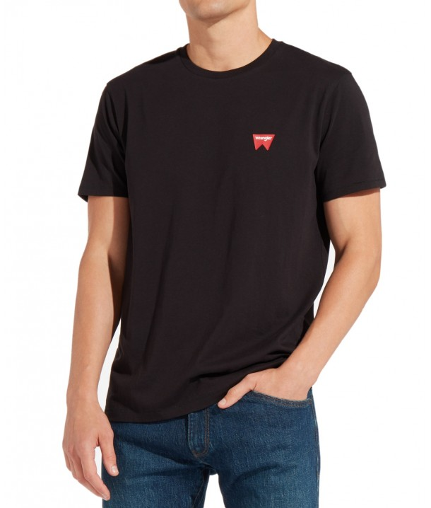 Wrangler SS SIGN OFF TEE W7C07 Black W7C07D301