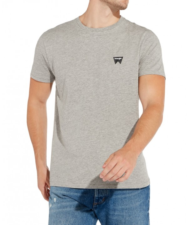 Wrangler SS SIGN OFF TEE W7C07 Mid Grey Mel W7C07D337