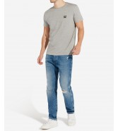 Wrangler SS SIGN OFF TEE W7C07 Mid Grey Mel