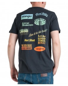 Wrangler SS GOOD TIMES TEE W7F8F Blue Graphite