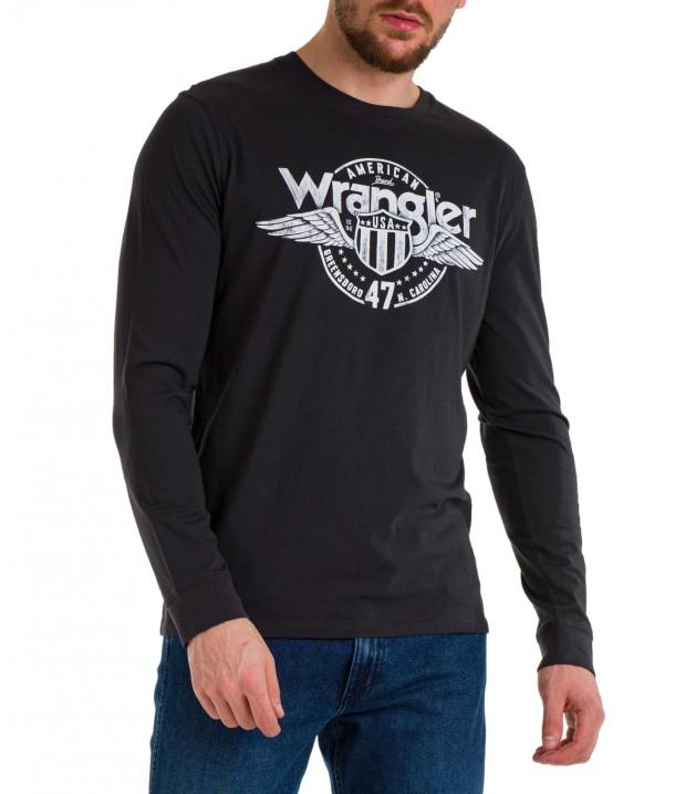 Koszulka Wrangler LS AMERICANA TEE W7J5D Faded Black