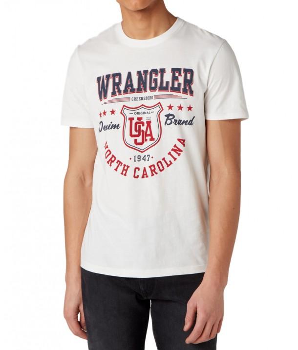 Wrangler SS AMERICANA TEE W7M8 Off White W7M8D3737