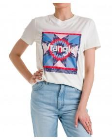 T-shirt Wrangler HIGH RIB REGULAR TEE W7N9 Worn White
