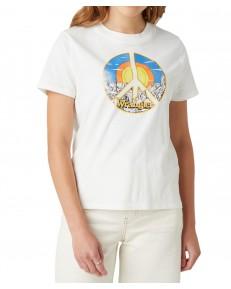 T-shirt Wrangler HIGH RIB REGULAR TEE W7N9G White Worn
