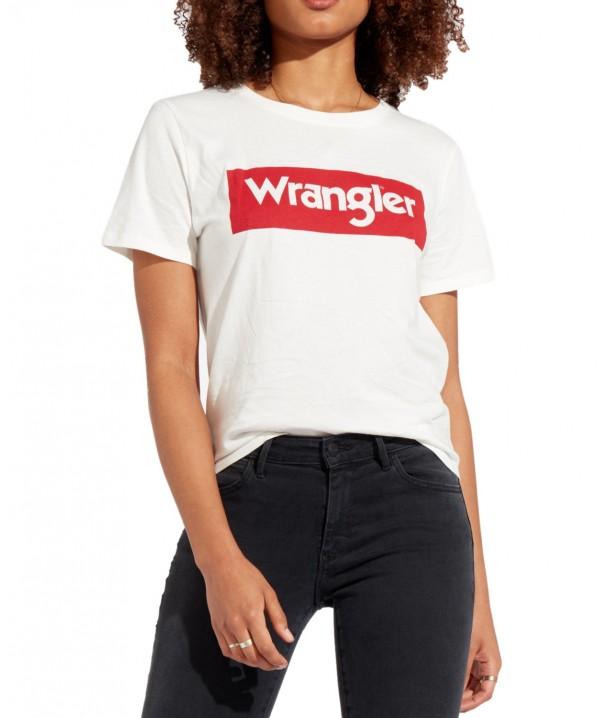 Wrangler LOGO TEE W7P3E Offwhite W7P3EV737