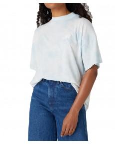 T-shirt Wrangler HIGH NECK GIRLFRIEND TEE W7Q9G Blue Tie Dye