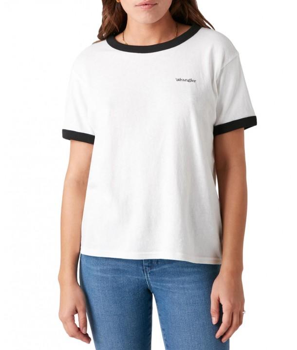 T-shirt Wrangler RELAXED RINGER TEE W7S0D Faded Black