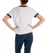 T-shirt Wrangler RELAXED RINGER TEE W7S0D Washed Black