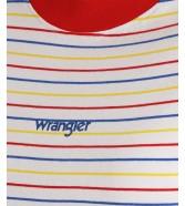 T-shirt Wrangler SS STRIPE TEE W7Z7 Flame Red