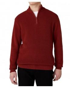 Sweter Wrangler HALF ZIP KNIT W8B4Q Russet Brown